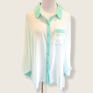 Maurices Mint Sheer Long Sleeve Blouse - Size 0